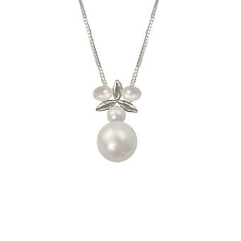 Eternal Collection In The Clover AAA White Freshwater Pearl Sterling Silver Pendant Necklace