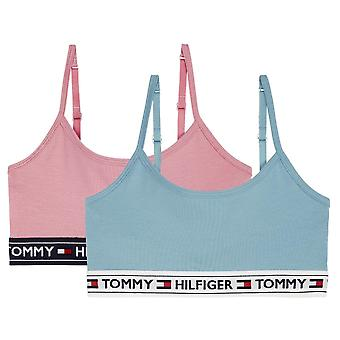 Tommy Hilfiger Girls 2 Pack Crossover Bralette - Wild Rose/Stillwater