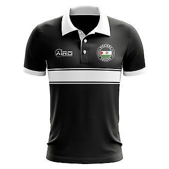 Westsahara-Konzept-Streifen-Polo-Shirt (schwarz)
