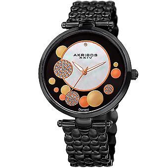 Akribos XXIV Women's Quartz Diamond Stainless Steel Black Bracelet Watch AK963BK