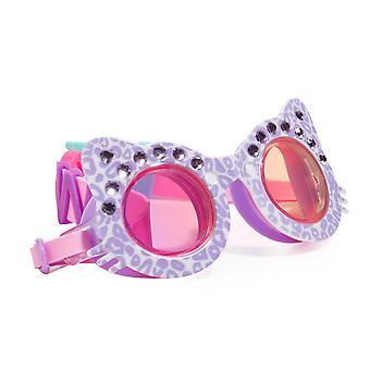 Girls fun cat shaped purple sparkly swimming goggles