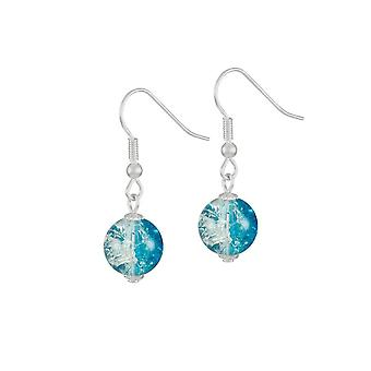 Eternal Collection Carnival Turquoise Czech Glass Crackle Bead Silver Tone Drop Pierced Earrings