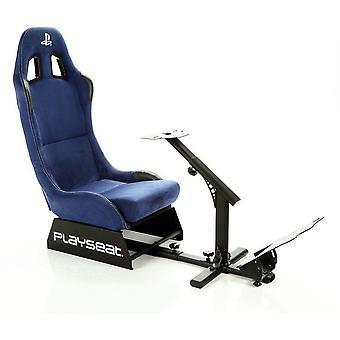 Playstation 4 Gaming Seat Racing Car High Back Chair Black/Blue Upholstery with Metal Frame & Adjustable Headrest