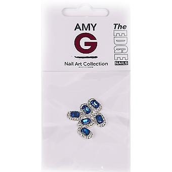 The Edge Nails Amy G - 3D Nail Art Nail Jewels - Blue Sapphire (6 PCS) (3003050)