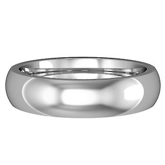 Jewelco London 18ct White Gold 5mm Premium Court-Shaped Wedding Band Commitment Ring