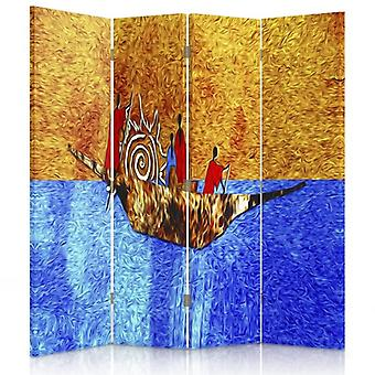 Room Divider, 4 Panels, Double-Sided, Rotatable 360 ??° Canvas, On Ice