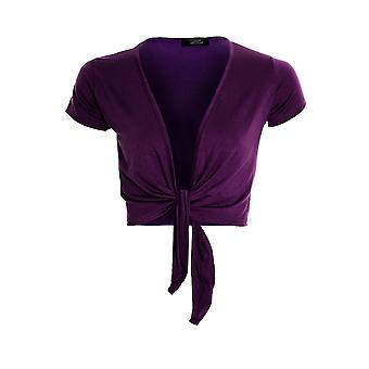 Womens Tie Up Front Cap Sleeve Bolero colore scrollata di spalle Cardigan Wrap Top donna