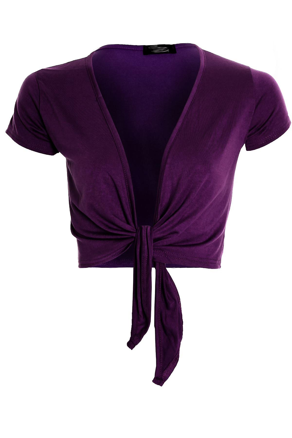Womens Tie Up Front Cap Sleeve Bolero Colour Shrug Cardigan Wrap Ladies Top