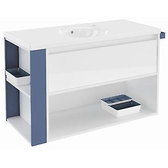 Bath+ 1 Drawer + Shelf With Gloss White Porcelain Sink Blue 100