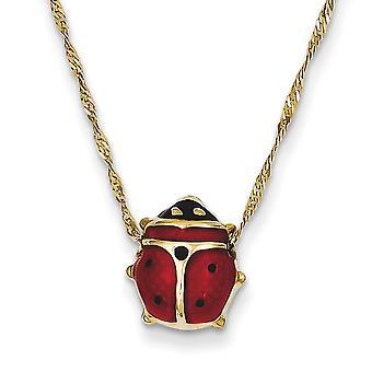 14k Yellow Gold Polished Closed back Enameled Ladybug Necklace - 1.0 Grams - Spring Ring