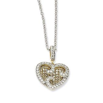Sterling Silver and Vermeil CZ Heart Necklace - 18 Inch
