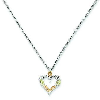Sterling Silver and 12k Heart Necklace - 18 Inch