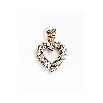14K Yellow Gold Diamond Heart Pendant with 18