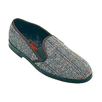 GBS Stafford Mens Twin Gusset Classic Slippers Textile Rubber Slip On Fastening