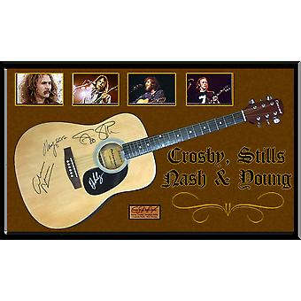 Crosby Stills Nash & Young Signed Guitar Custom Framed