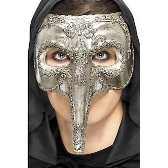 Capitano Venezianische Augenmaske silber deluxe Venezia Halloween