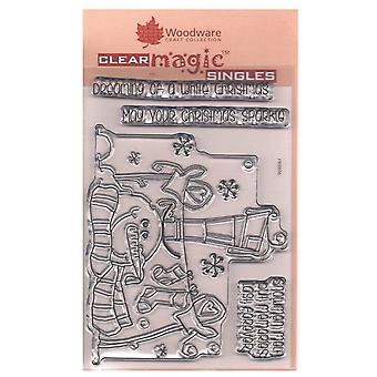 Woodware Clear Stamp cappello superiore del pupazzo di neve 4 Set