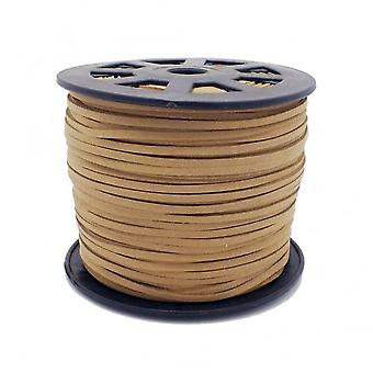 3mm Flat Faux Suede Cord - Tan - 5m