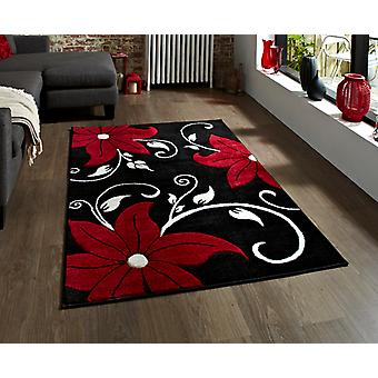 Verona OC15 Black - Red Black and red Rectangle Rugs Modern Rugs