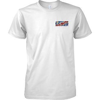 Efecto bandera de Congo Grunge país nombre - niños pecho diseño camiseta