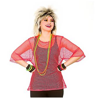 Adults 80's Rave Disco Hen Party Neon Mesh Top Fancy Dress Accessory