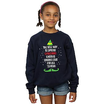 Elf Girls Christmas Cheer Text Sweatshirt