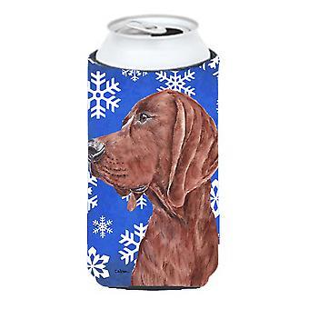Redbone Coonhound Winter Snowflakes Tall Boy Beverage Insulator Hugger