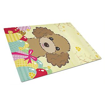 Chocolate Brown Poodle Easter Egg Hunt Glass Cutting Board Large