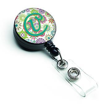 Letra V flores rosa Teal verde inicial insignia Retractable carrete