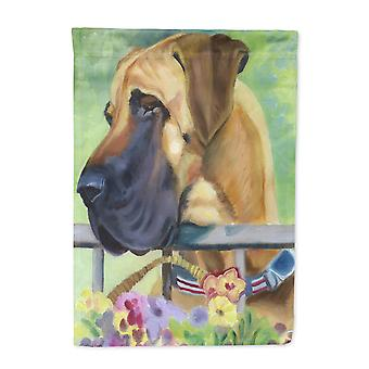 Great Dane Natural Ears Fawn in Flowers Flag Canvas House Size