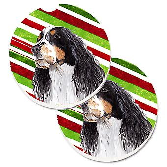 Springer Spaniel Candy Cane Holiday Christmas Set of 2 Cup Holder Car Coasters