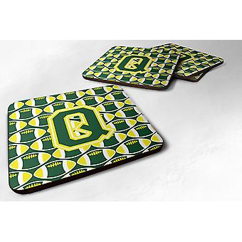 Set of 4 Letter Q Football Green and Yellow Foam Coasters Set of 4
