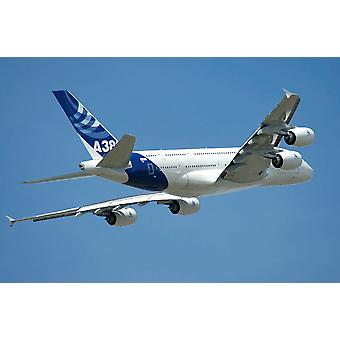 Airbus A380 prototype in flight over Paris at the Le Bourget Airshow Poster Print by Riccardo NiccoliStocktrek Images