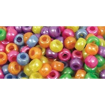 Barrel Pony Beads 9Mmx6mm 175 Pkg Pearlized Multi Mix Bd239 J