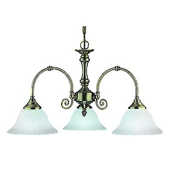 Virginia Antique Brass Three Light Ceiling Light With Scavo Glass Shades - Searchlight 9353-3