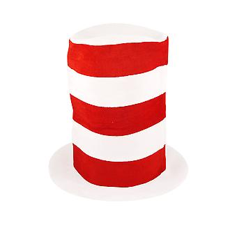 Adult Red & White Striped Tall Hat Book Day Fancy Dress Accessory