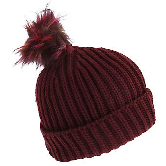 Foxbury Womens/Ladies Chunky Faux Fur Bobble Hat