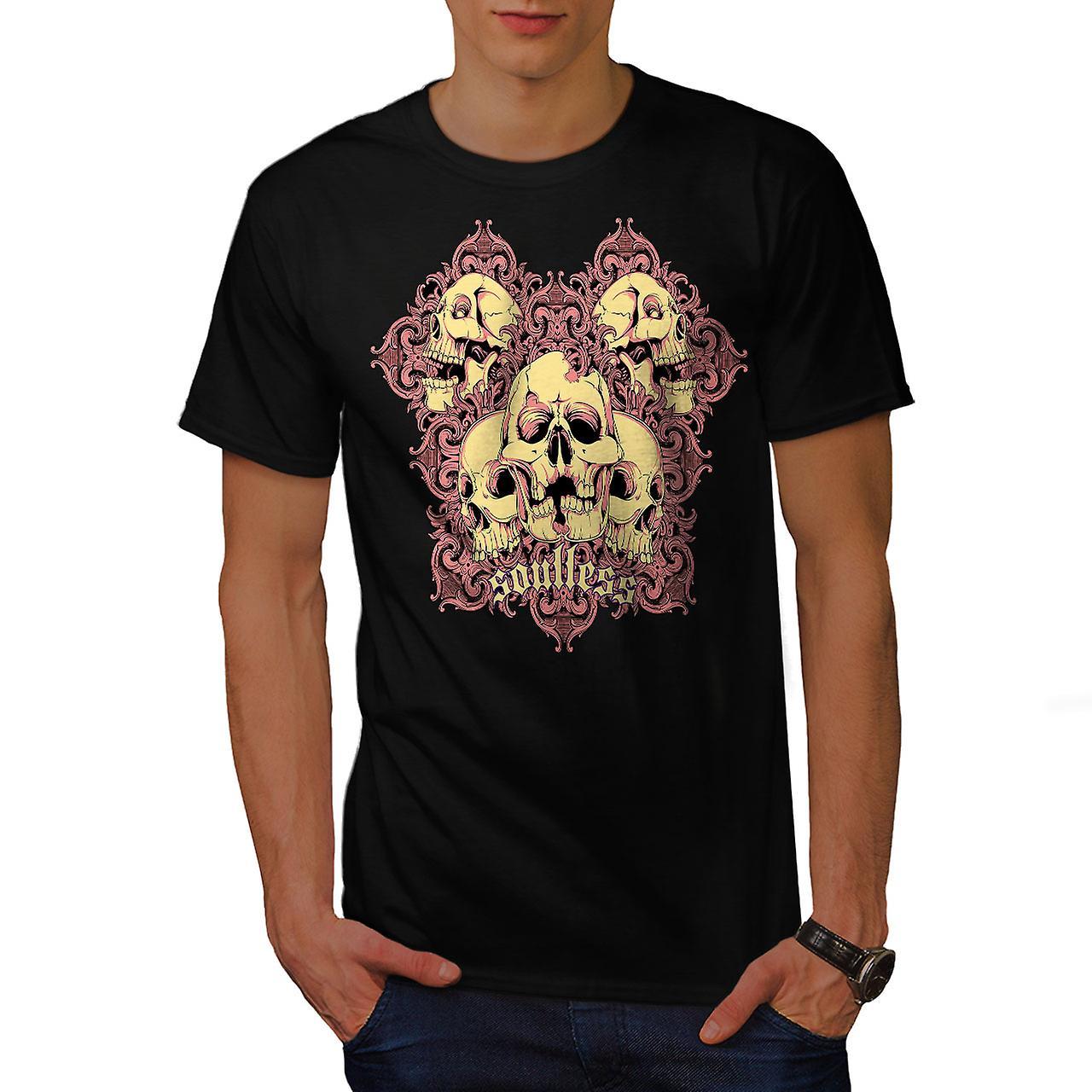 Soulless Goth Death Skull Men Black T-shirt | Wellcoda