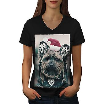 Yorkshire Cute Women BlackV-Neck T-shirt | Wellcoda