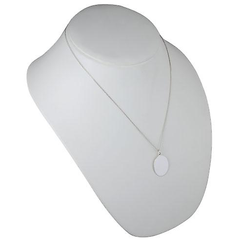 Silver 27x21mm plain oval Disc with a curb Chain 20 inches