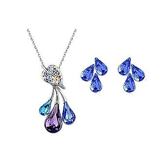 Womens Jewellery Set Flower Leaf Pendant Necklace And Earrings BG1486