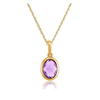 Gemondo 9ct Yellow Gold 1.05ct Natural Amethyst Oval Frame Pendant on 45cm Chain