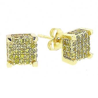 925 orecchini MICRO spianare - cubo 8 full mm oro
