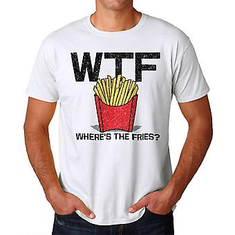 Humor frites mäns vit T-shirt
