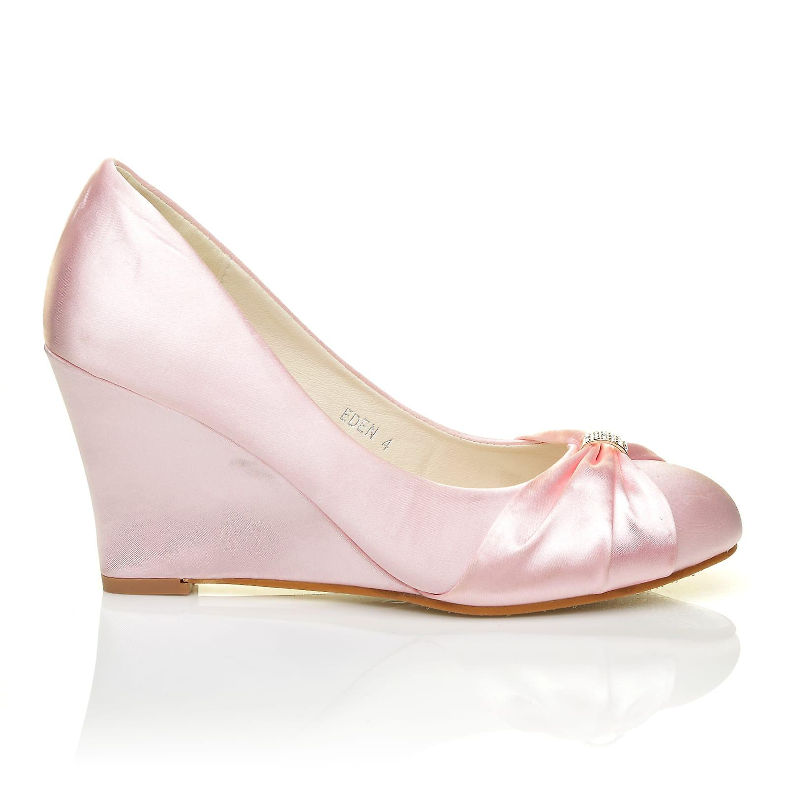 EDEN Baby Pink Bridal Satin Wedge High Heel Bridal Pink Court Shoes b046e8