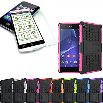 Hybrid 2 piece SWL case Pink for Sony Xperia Z3 plus E6553 / dual + tempered glass