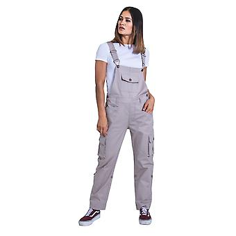 USKEES Womens Dungarees - Beige Relaxed fit Roll-up Leg Cotton Bib-overalls