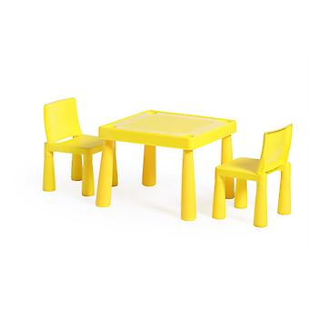 SEATING 1XTISCH 2 X CHAIRS STURDY CHILDREN'S FURNITURE SET SEAT TRIM KIDS YELLOW