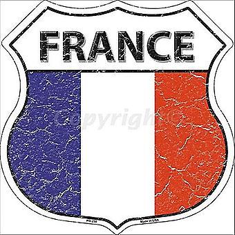 France Flag Shield Shaped Metal Sign 290Mm X 290Mm