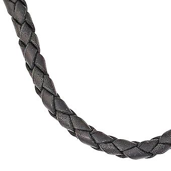 Leather necklace necklace cord black 45 cm carabiner 925 Silver